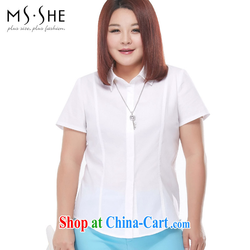 MsShe XL women summer 2015 new thick sister OL long-sleeved video thin flip T-shirts shirt pre-sale 7347 white short-sleeved - pre-sale on 30 June to the 6 XL
