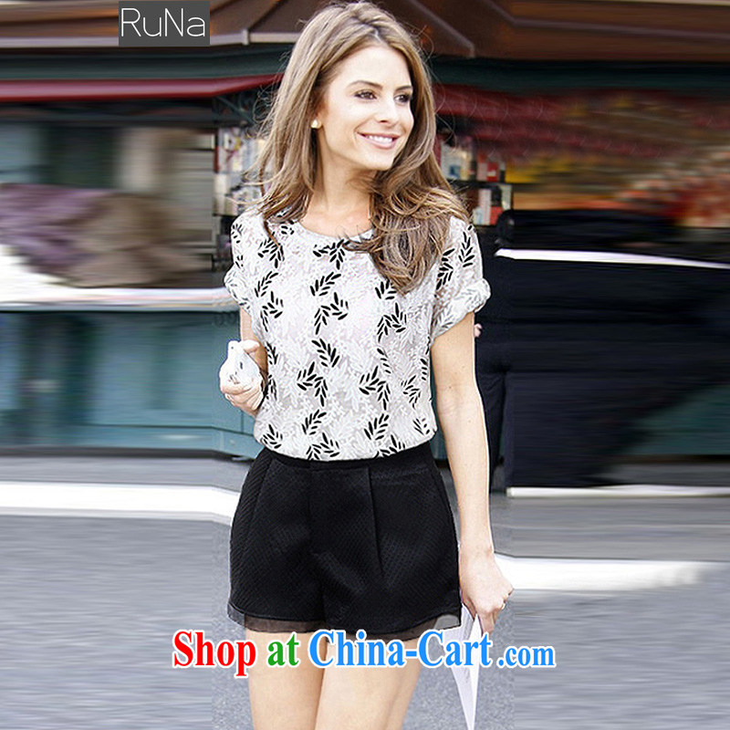 2015 RuNa new Europe and North America, the female summer mm thick stylish jacquard short-sleeved T shirt + high waist shorts Package white + Black XXXL - 145 - 165 jack