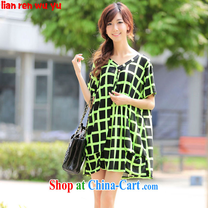 LRWY summer 2015 new Ultra loose the fat XL plaid short-sleeved dresses V collar graphics thin thick MM larger dresses fat lady with maternity dress picture color codes - For 100 jack - 200 catties MM
