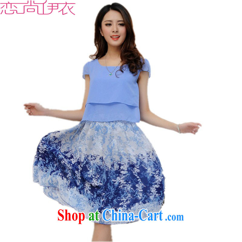 The delivery package as soon as possible by 2015 new summer Korean beach skirts and indeed increase, short-sleeved spell-colored snow in woven skirts leisure-Map Color 4 XL approximately 160 - 175 jack