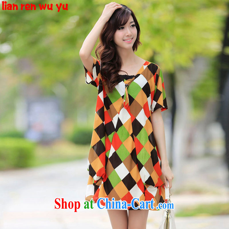LRWY summer 2015 the code color plaid short-sleeved dress ultra-fat ultra-relaxed thick MMV collar dresses 200 jack, short skirts pregnant women with fancy are codes - For 100 jack - 200 catties MM