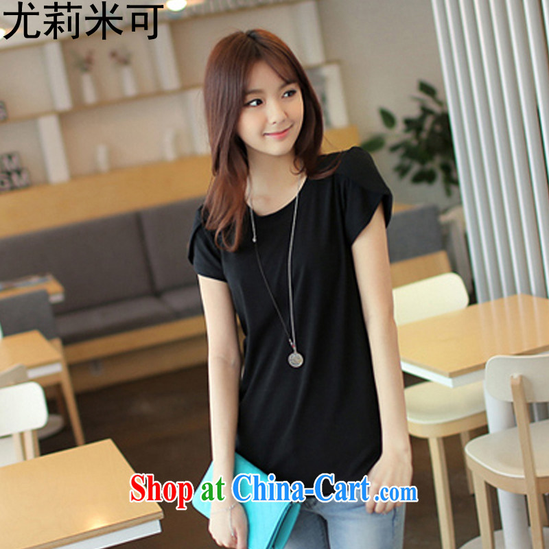 Julie M to 2015 summer New solid color with the Code short-sleeved shirt T solid shirt ladies black 8811 XXL