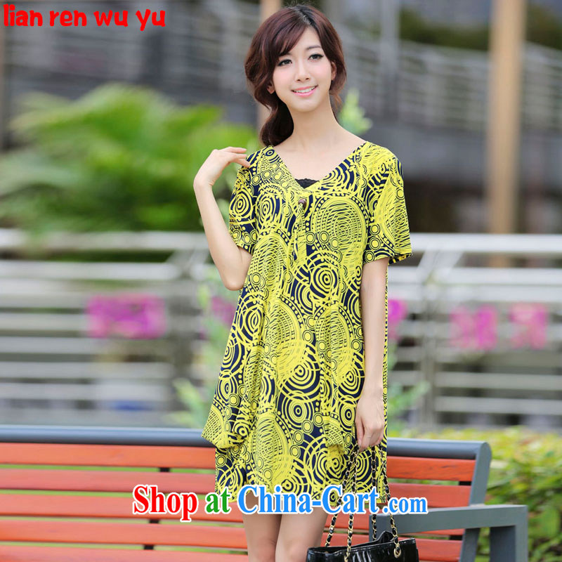 LRWY 2015 summer new king code line stamp V collar loose short-sleeve dresses dresses, older 200 Jack fat people clothes fat lady with yellow are codes - For 100 jack - 200 catties MM