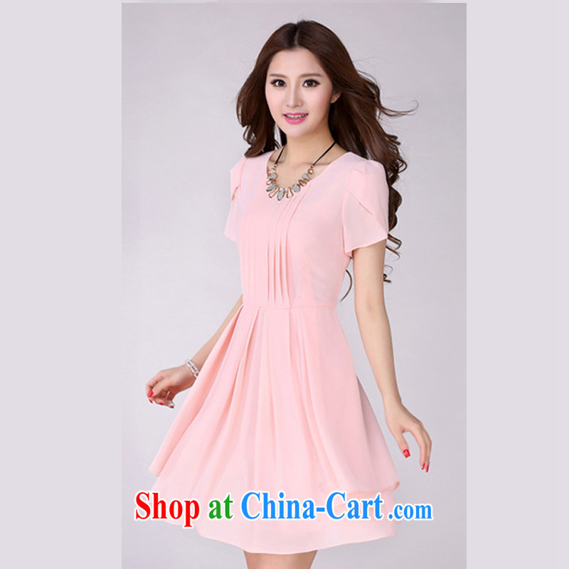 The Taj Mahal, Flower Spring and Summer new short-sleeved snow woven dresses female Korean Beauty larger thick mm round-collar 100 hem skirt in 2026 YLS and pink 4 XL