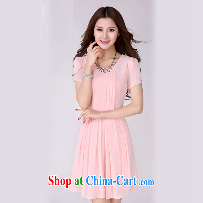 The Taj Mahal, Flower Spring and Summer new short-sleeved snow-woven dresses female Korean Beauty larger thick mm round-neck collar 100 hem skirt in 2026 YLS and pink 4 XL, the Taj Mahal, Flower (AGIVYARD), online shopping
