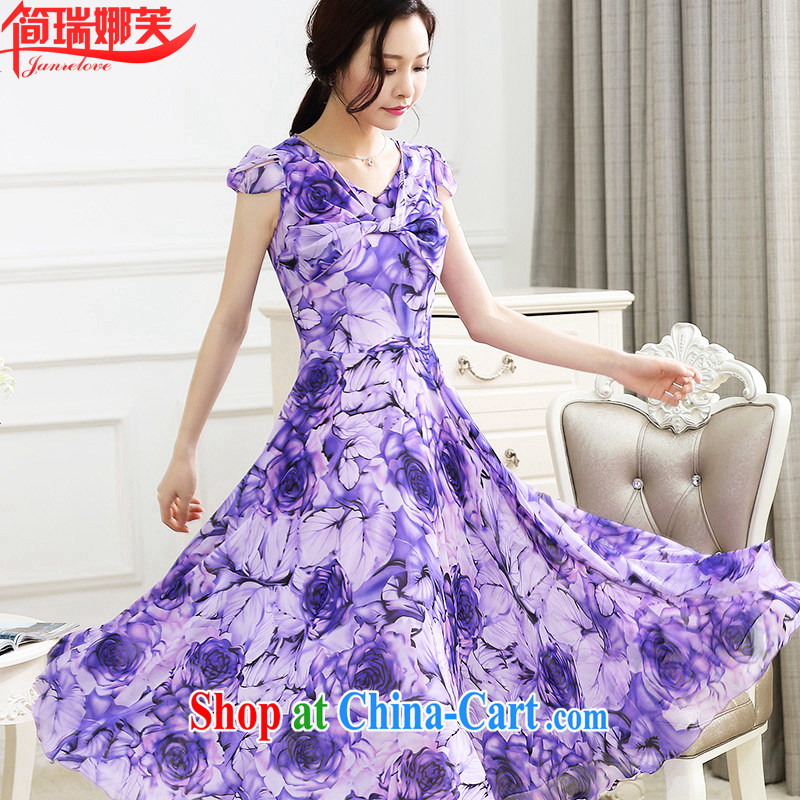 In short, the possible summer 2015 new elegant stamp larger graphics thin ice woven dresses beach skirt large long skirt girl J 807 violet 3XL