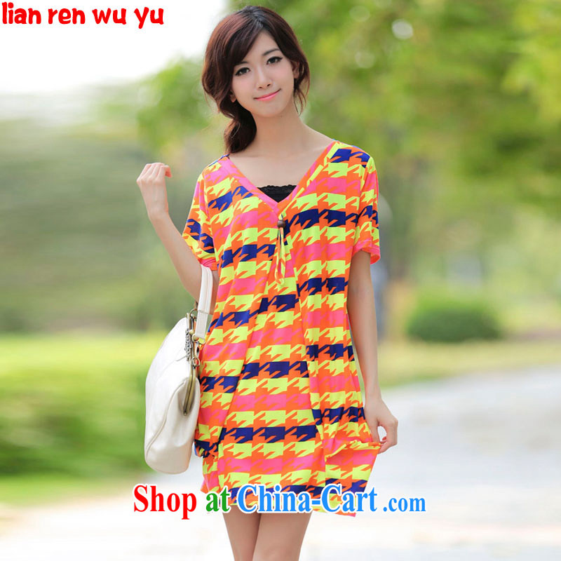 LRWY summer 2015 the code female new, personalized striped short-sleeved dresses thick MM the fertilizer and ultra-liberal 200 Jack dresses maternity dress picture color codes - For 100 jack - 200 catties MM