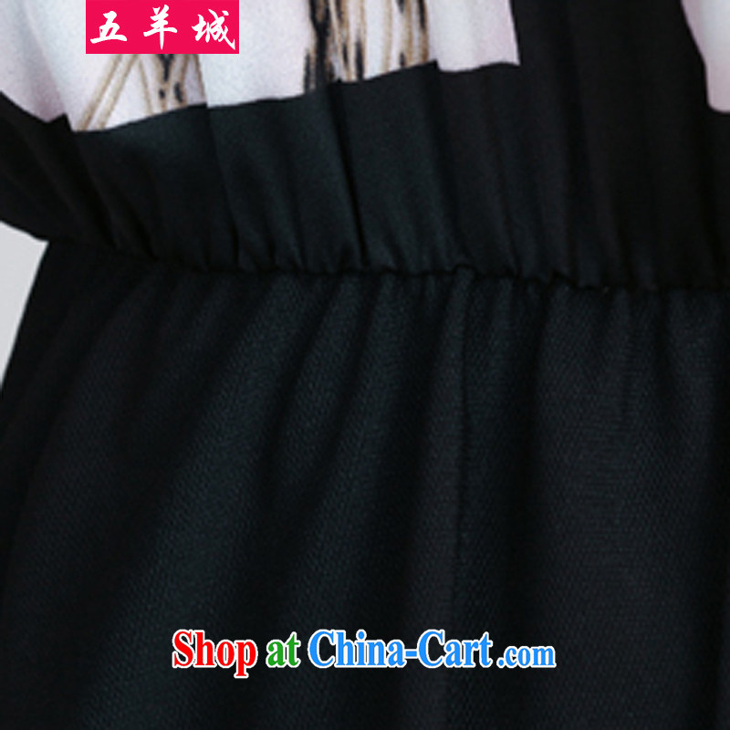 Five Rams City large, female summer mm thick leisure Korean edition dolls for thick girls with graphics thin, thick sister summer short-sleeved dresses 199 black XXL 150 recommendations about Jack, 5 rams City, shopping on the Internet