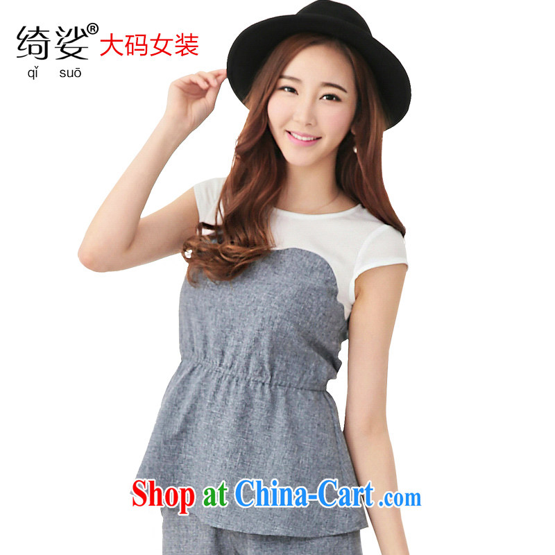 cheer for 2015 XL girls thick MM summer new Korean video thin black-out poverty short-sleeved snow woven stitching shirts 2726 gray 3 XL