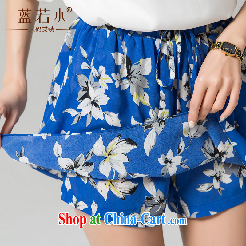 blue if the water increase, female 2015 summer new thick MM Body skirt 100 hem skirt loose stamp shorts skirt large blue code XXXXL