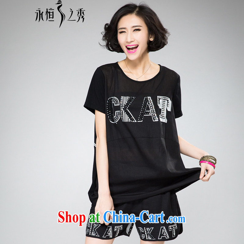 Eternal-soo and indeed increase, female video thin package thick sister 2015 summer new thick mm thick, graphics thin, drill stamp T-shirt pants two piece black 4XL