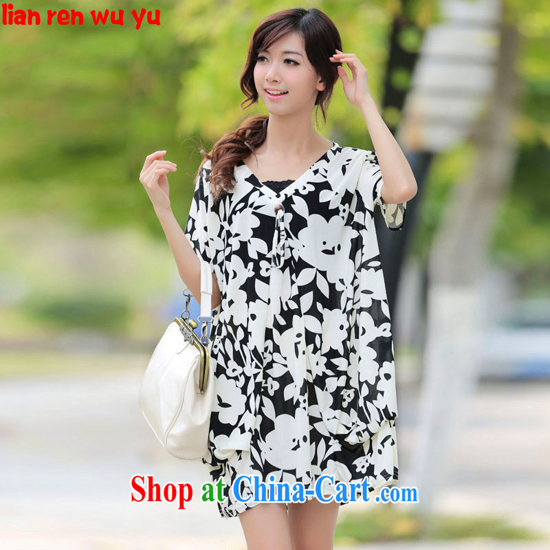 LRWY summer new thick MM the fat and black and white printing 200 Jack ultra-ventricular hypertrophy, short-sleeved dresses video thin pregnant women as well as older fat people clothes picture color codes - For 100 jack - 200 catties MM