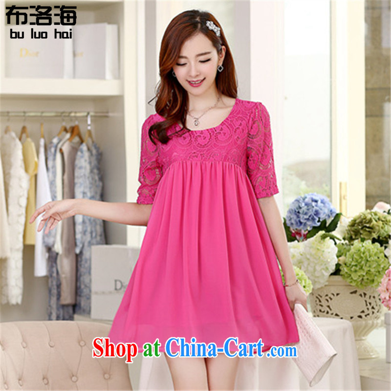 The sea 2015 summer new, larger female Korean snow woven skirt lace 5 cuff thick MM relaxed dress women of 2536 red XXXXXL