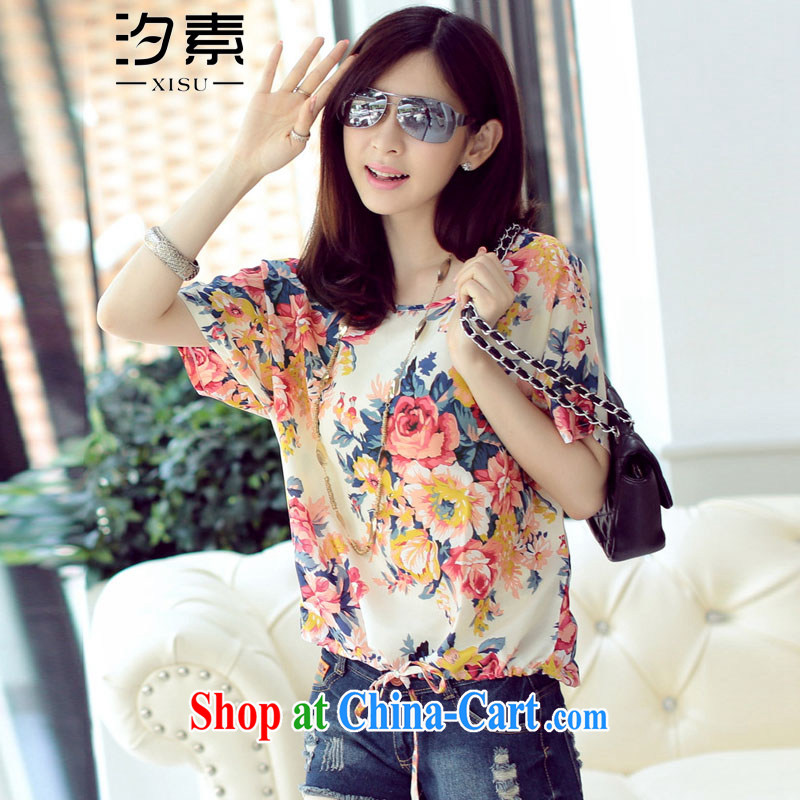 Leaves of summer 2015 with new Korean fashion floral loose the code short-sleeved snow woven shirts girls stylish floral XL