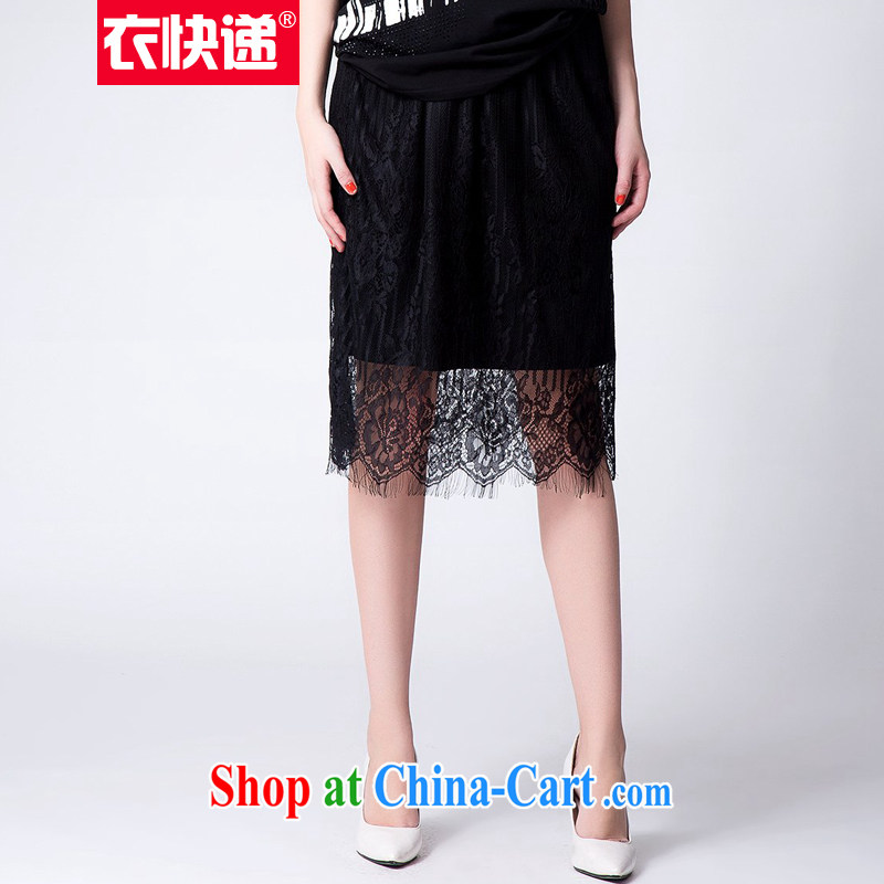 Clothing and express the Code women's clothing 2015 summer wear solid color lace body skirt black graphics thin solid skirt 100 hem skirt C 2585 black 5 XL