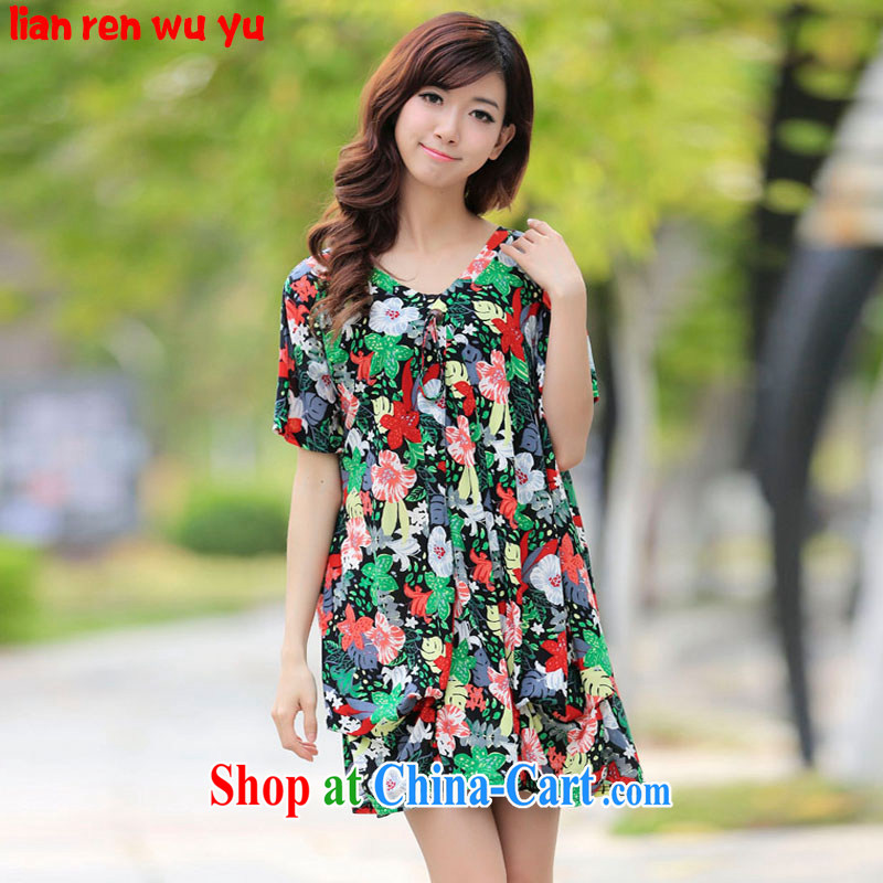 LRWY summer 2015 new, idyllic small fresh and thick MM the fertilizer and ultra-relaxed floral short-sleeved dresses maternity dress larger dresses suit all codes - For 100 jack - 200 catties MM