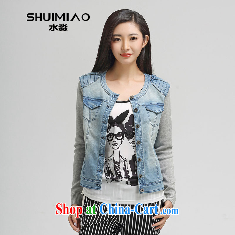 Water with the Code women spring 2015 the new section 100 a casual Korean long-sleeved denim jacket thin S CJ 15 4619 cowboy, 3 XL