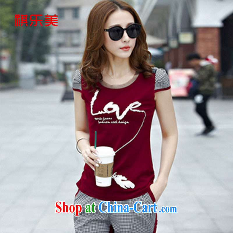 Sincerely, The 2015 campaign kit female summer, new grid the code short-sleeve stylish beauty lounge suite 7 pants Y 8390 wine red XXXL