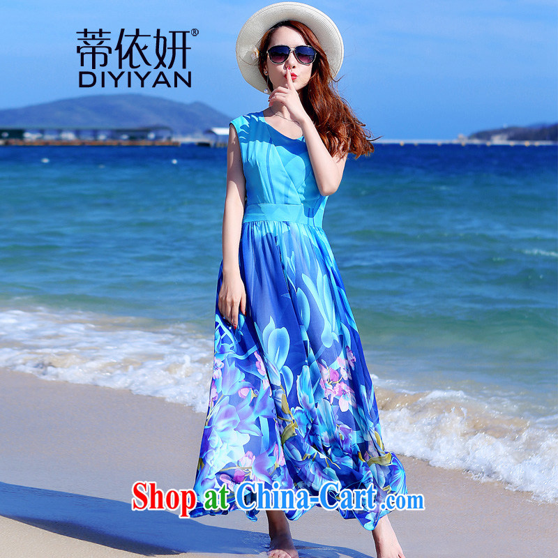 In accordance with his 2015 figure skating fashion style new Summer Snow stamp duty woven skirts cultivating larger bohemian dresses D 35,863 picture color 3XL
