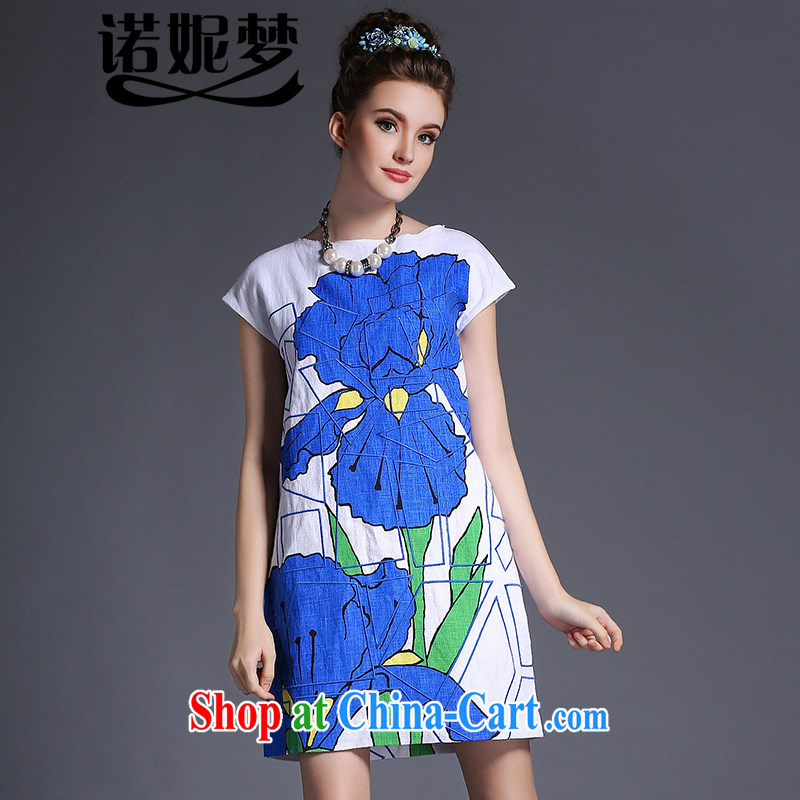 Connie's dream European and American high-end 2015 summer New, and indeed increase, female 200 Jack mm thick short-sleeve stamp loose cotton the dresses G 666 blue XXXXXL