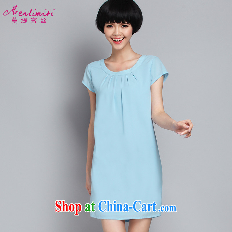 Mephidross economy honey, 2015 summer new XL female Korean thick MM stylish and simple solid color style snow woven dresses 2882 light blue large code 4 175 XL about Jack