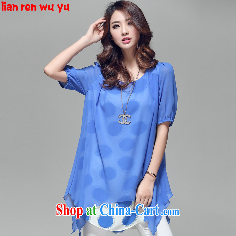 LRWY 2015 summer thick MM and indeed increase the softness, short-sleeve snow-woven shirts knocked colored false Two rules with personalized larger female T shirt blue XXXXL