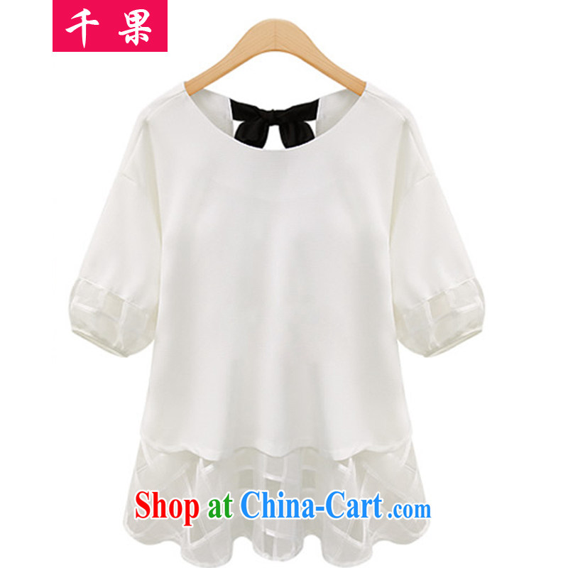 1000 summer fruit with new, and indeed increase, female 200 Jack mm thick graphics thin ice woven shirts thick sister Korean lax T shirt solid shirt Yi 0827 white 4XL 170 - 185 about Jack