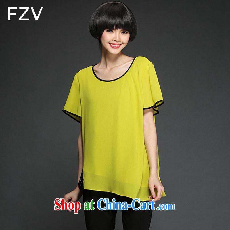 The FZV Code women thick MM summer 2015 new loose snow woven shirts T shirts women 1342 yellow 4 XL