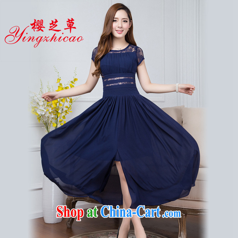 2015 new summer, long, short-sleeved snow woven long skirt bohemian dress girls summer beach dress summer dress the code blue L