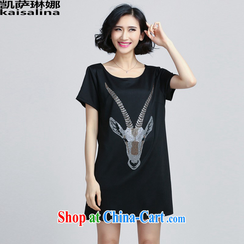 Catherine, summer 2015 new Korean version 200 Jack thick MM the ventricular hypertrophy, female hot drill short-sleeved dresses black XXXXXL