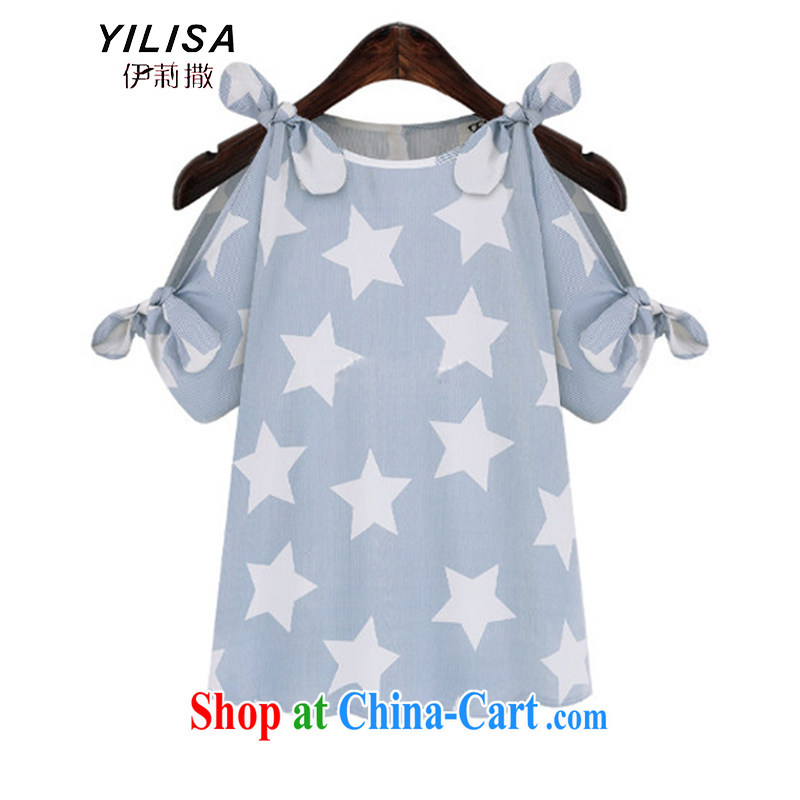 YILISA new Europe and indeed the XL female summer 5 star graphics your shoulders and stylish 100 ground leisure graphics thin thick sister-yi skirt K 211 light blue 5 XL