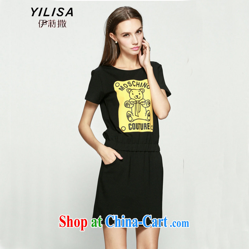 YILISA new king, female Jack 200 mm thick summer Korean card Cubs figure dresses thick sister graphics thin even skirt K 870 black XXXL
