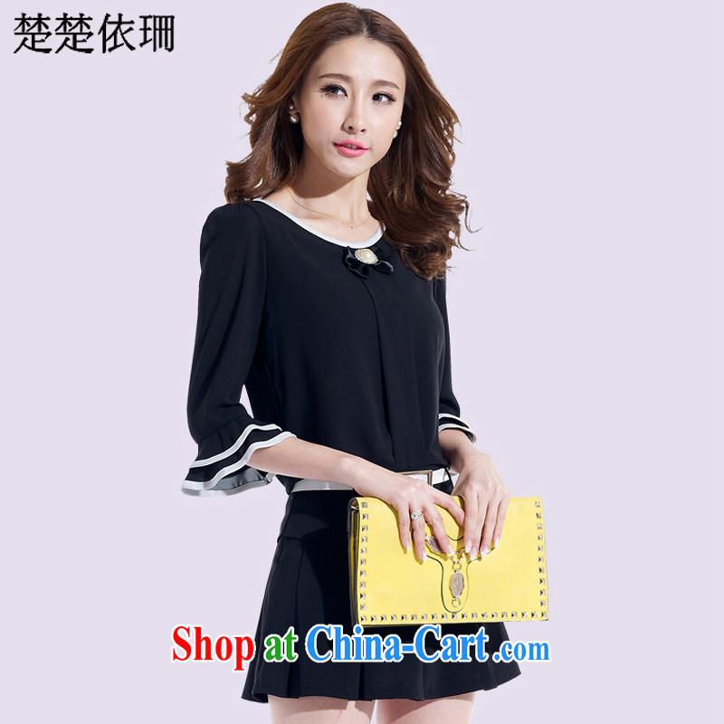 Chu Chu in 2015 and Korean summer decoration, graphics thin stylish shirt snow woven dresses two piece women 6633 black XXL