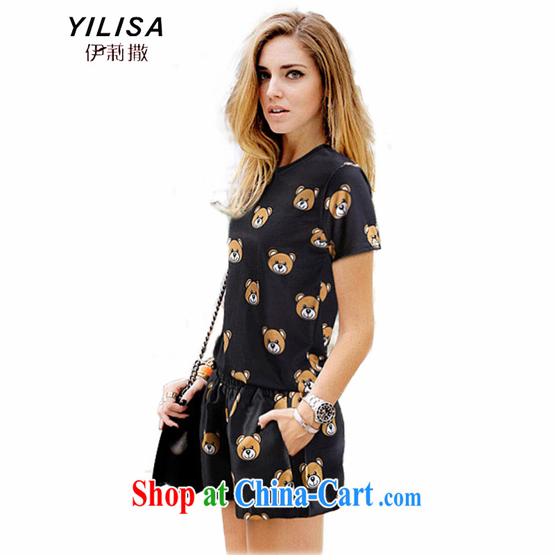2015 YILISA new larger female thick MM summer leisure card Cubs pattern short-sleeve T shirts shorts sportswear Y 5125 Map Color 5 XL
