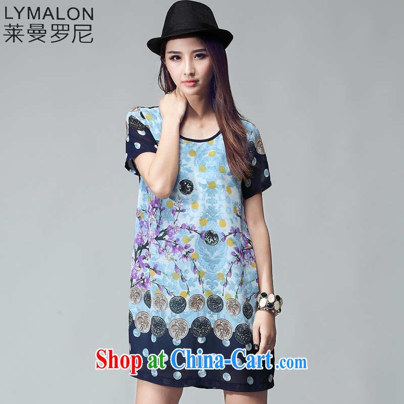 Lehman Ronnie lymalon fat people graphics thin summer 2015 mm thick new, larger female and fat and loose short-sleeve dress 2027 picture color XXXXL