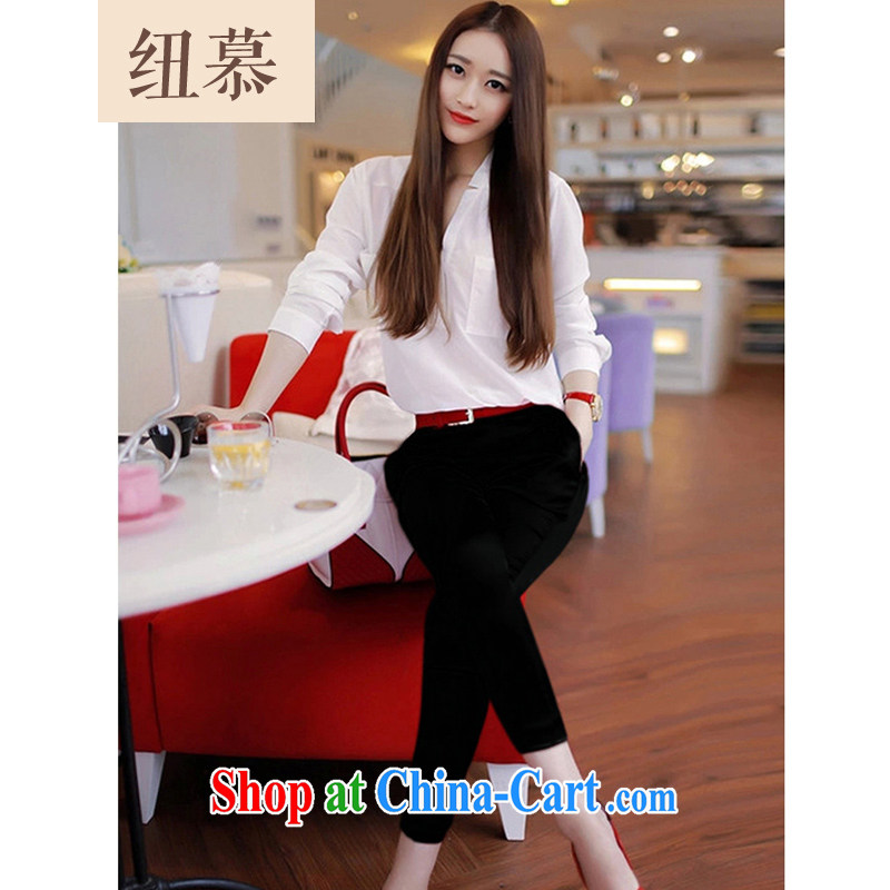 2015 Spring and Summer Package small fragrant wind OL vocational Leisure package snow woven shirts pants and two-piece female black XXL