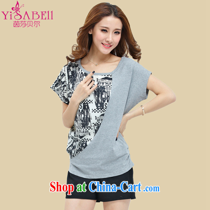 Athena Isabel Allende summer new Korean version the Code women short sleeve installed on the US and snow-woven stitching bat sleeves short-sleeved T shirts and shorts Kit 1096 gray package 4 XL _160 - 175 _ jack