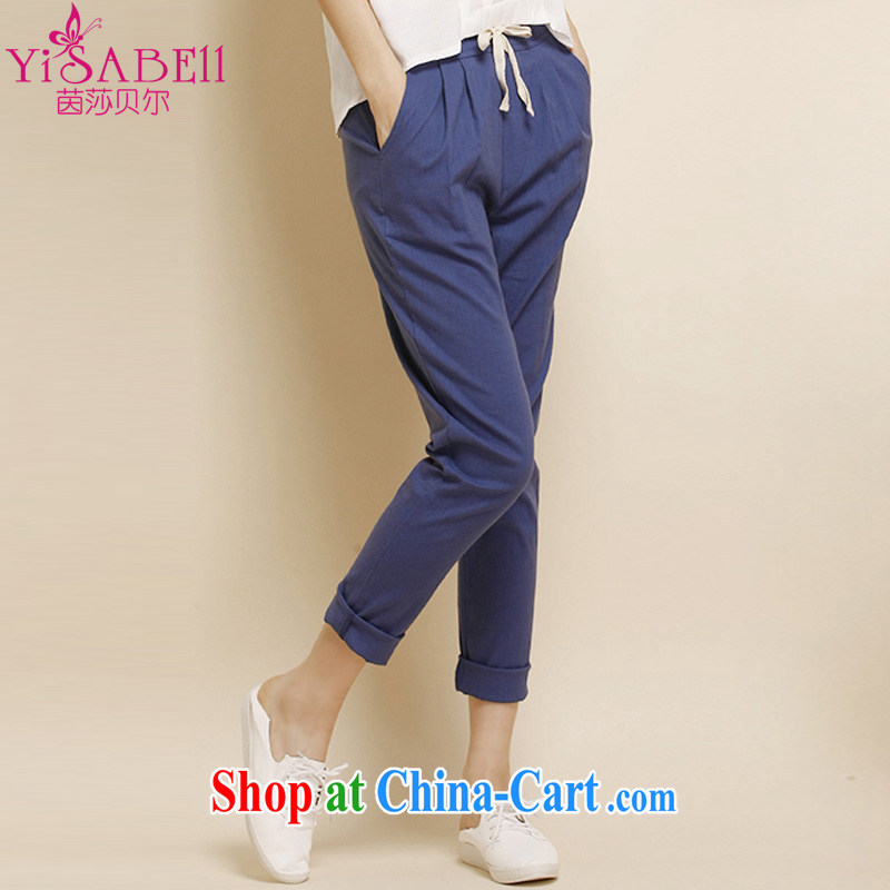 Athena Isabel Allende larger thick mm female new cotton Ma pants loose 100 ground flax pants pants Korean video thin Harlan pants casual pants 1126 cowboy blue 4XL _145 - 170 _ jack