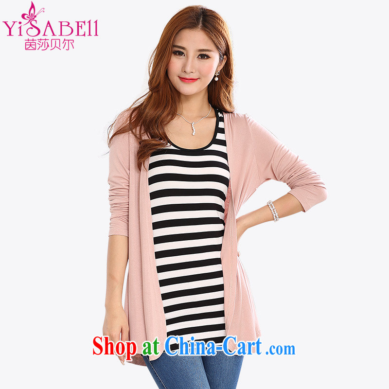 Athena Isabel Allende summer NEW GRAPHICS thin XL ladies cardigan knitted T-shirt simple and stylish in her long mantle air-conditioning sunscreen shirts jacket T-shirt 1121 bare pink 4 XL _155 - 170 _ jack