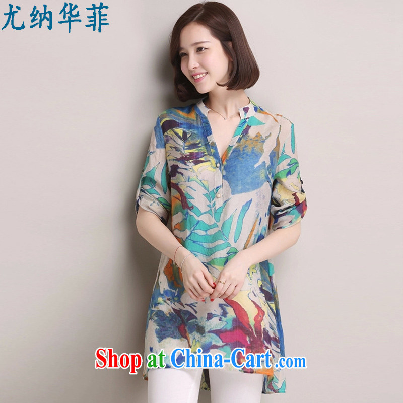 In particular, China Philippines summer 2015 Korean version of the new, relaxed the code 100 in a long shirt girls cotton Ma shirt, 8093 solid blue XXXL