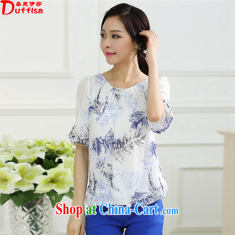flower girl Isabelle 2015 summer new and indeed XL women mm thick loose bat sleeves stamp snow woven shirts D 1711 Peacock Blue XXXXL