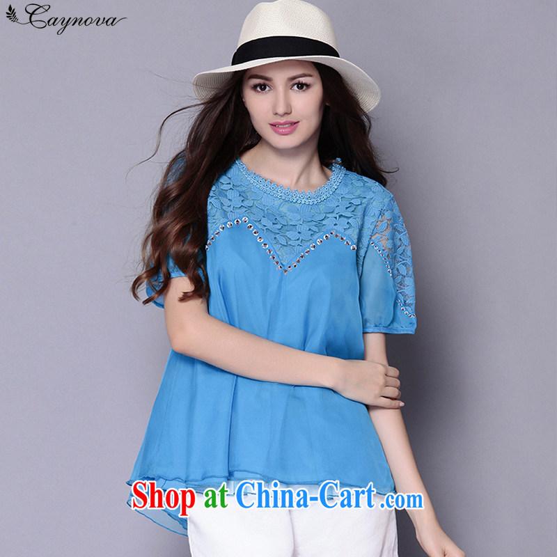 2015 Caynova larger female summer new stylish lace Openwork short sleeved T-shirt girls 5005 blue XXXXXL for 200 - 210 jack