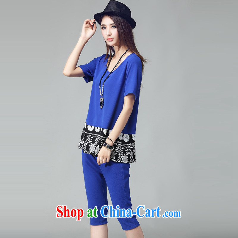 Jade her summer 2015 new products, female Korean minimalist stamp stitching two casual stylish package graphics thin short-sleeved T-shirt shirt girls blue 2 XL (recommendations 130 - 145 catties, Yu-wei, and shopping on the Internet