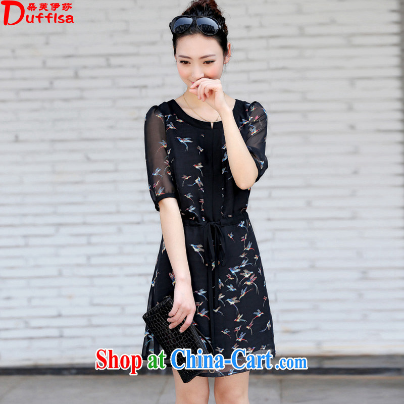 flower girl Isabelle 2015 new thick MM and indeed XL loose video thin drawcord stamp snow woven dresses female D 1715 black XXXXL