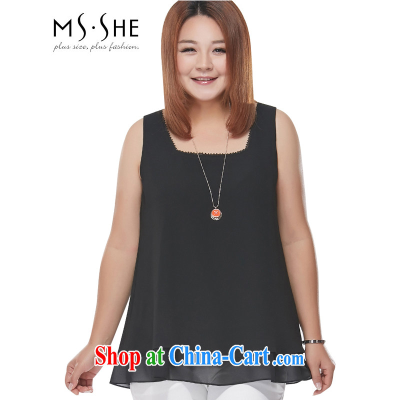 The MSSHE indeed XL women's clothing 2015 new spring and summer wear thick MM sister straps snow woven shirts 2893 black 6 XL