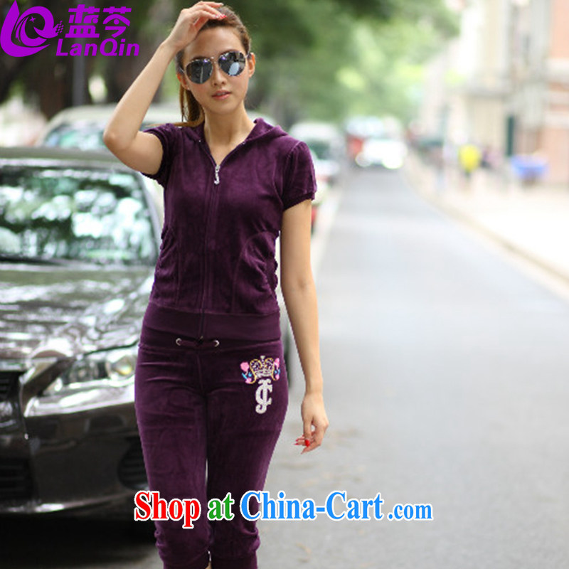 The superintendent, who Yi Girls 2015 summer new short-sleeved shorts casual sweater Kit female double-cap 2 piece velvet sportswear summer women purple L