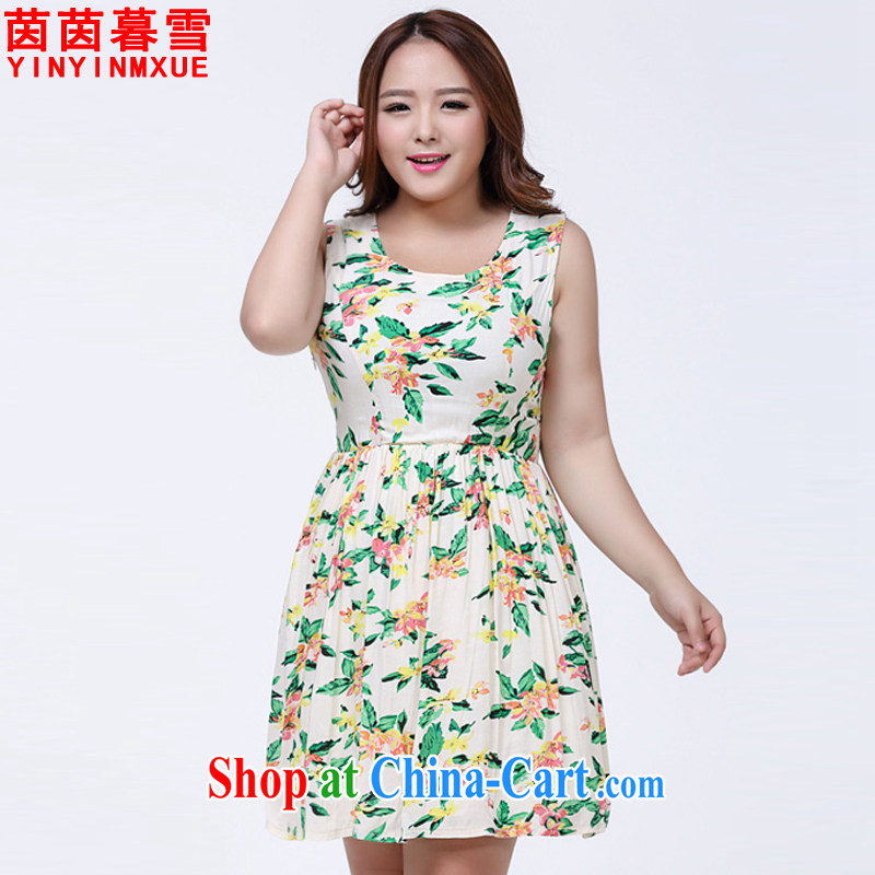 Athena Chu Yan and snow summer 2015 new large, round-neck collar stamp beauty graphics thin thick sister dresses female LYQ 1006 suit 4 XL