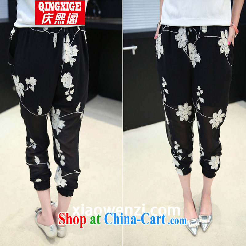kyung hee Attic Big code' pants, pants 2015 spring new and indeed increase 200 Jack thick MM snow woven graphics thin female pants black 3 XL
