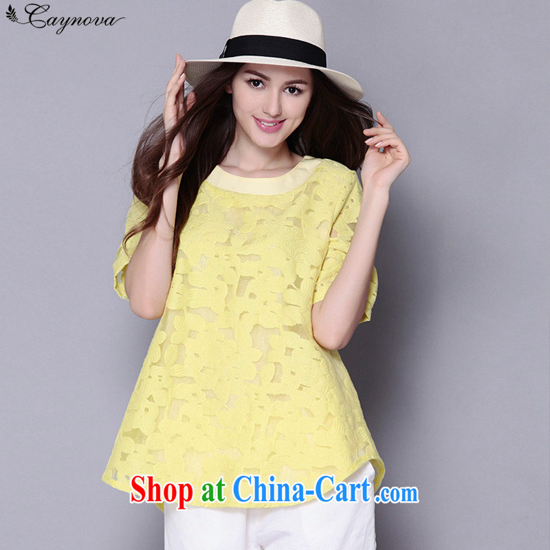 2015 Caynova new larger women mm thick the root by short-sleeve lace shirt female Q 5006 yellow XXXXXL for 200 - 210 jack