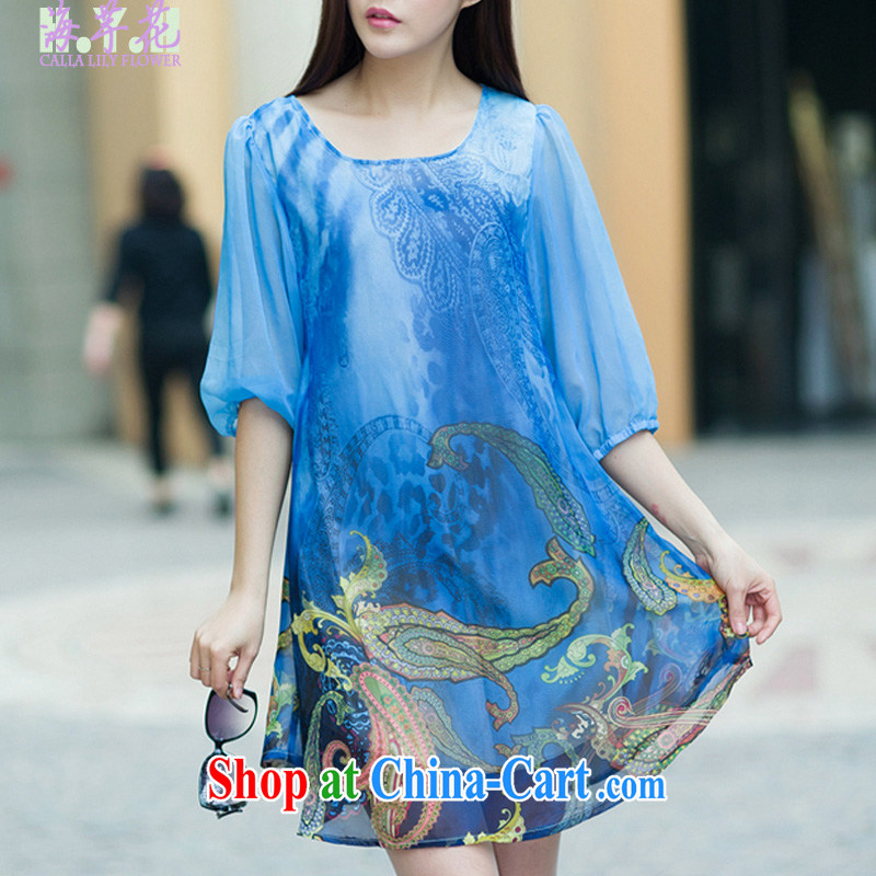 The line spend a lot, women summer 2015 New Leisure, long, the Stamp Duty Code dress elegant and stylish snow woven 7 cuff dress I 5 2521 sky 3 XL